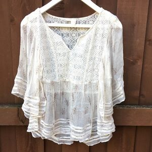 Anthropologie Meadow Rue boho top shirt cream